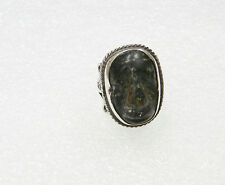 STERLING SILVER CARVED AGATE FACE RING SIZE 4.25 N588-C