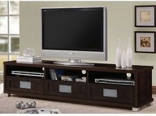 "Wide Up To 75"" TV Stand Media Center Console Low 3 Drawer Open Shelves Espresso"