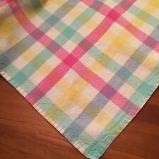 """Vtg tablecloth casual spring/summer plaid country cottage chic 74x54"""""""