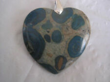 "Blue and Tan Ghost Eye Jasper Heart Pendant on 21"" Silver Necklace~LBDFI"