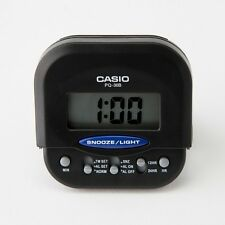 Casio PQ30B-1 BLACK Compact Digital Beep Black Alarm Clock Travel Alarm NEW