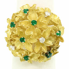 18K Yellow Gold E VS Diamond & Emerald Flower Cluster FRENCH Cocktail Ring