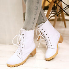 New Fashion Military Combat Lace Up Ankle Boots Women Round Toe Heels shoes I64