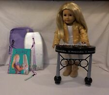 American Girl Doll Kailey Dressed + Sparkle Keyboard + Surfboard + case + Book