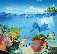 Mar Marino Océano Salvavidas Coral Arrecife Pez 180cm X Poliéster Con Ganchos