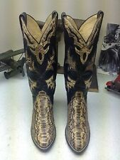 CUSTOM HANDMADE SNAKE SKIN BLACK LEATHER PULL ON COWBOY DANCE WESTERN BOOTS 6.5B