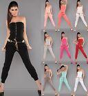 # SEXY Overall Jumpsuit Bandeau Hosenanzug Overall mit Gürtel und Zip #