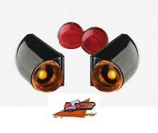 DONNIE SMITH BLACK 12 VOLT RED AMBER MARKER TURN SIGNAL LIGHT SET FOR HARLEY