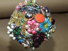 """Hand Made Vintage Jewelry BALL Ornament Rhinestone Faux Pearl Glass Crystal 4"""""""