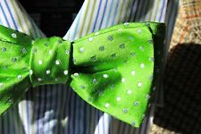 Gentleman's Lime Green Dotted Adjustable Self-Tie Silk Bow Tie