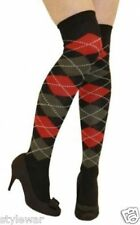 Argyle Over The Knee Socks Ladies Thigh High Dimond Check Pattern Golf Socks 4-6