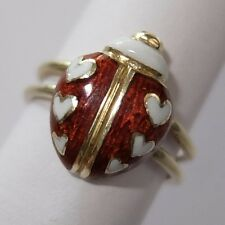 VINTAGE ESTATE 10K GOLD ENAMEL LADYBUG INSECT RING