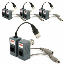 4Set BNC to RJ45 CAT5 CAT6 Cable Passive Video Audio Balun Connector Transceiver