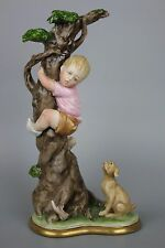 Capodimonte Bruno Merli Figurine Boy on Tree MINT WorldWide