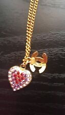 Chanel heart crystal necklace