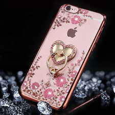 Soft Flowers TPU Luxury Bling Diamond Ring Holder Stand Clear Case Cover quote