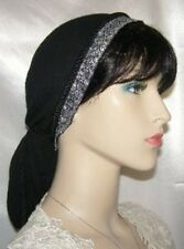 Head Covering Headcovering Black Gauze Cotton Snood Jacquard Ribbon Band Tichel