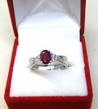 #R2399S 1.54ct Natural Ruby 6*8mm Oval White Gold Over 925 Silver Ring