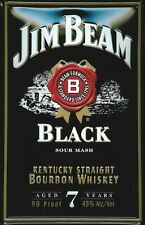 JIM BEAM BLACK LABEL Vintage Metal Pub Sign | 3D Embossed Steel | Home Bar