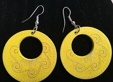 Boho Hippy Gypsy 70s Style Open Hoop Yellow Wooden Abstract Fashion Earrings