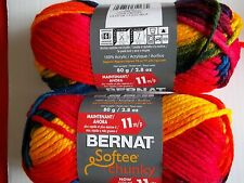 "Bernat Softee Chunky yarn (11 sts per 4""), School Yard, lot of 2 (77 yds each)"