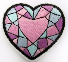 Heart Pink Diamond Sew / Iron on Embroidered Patch Badge Motif  For Clothing