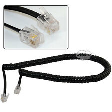 10ft 3m Black Male RJ11 Telephone Handset Phone Extension Cord Coil Cable Wire