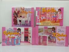 Gloria,Barbie Doll House Furniture/ 4 set of  Dining,Tea, Fridge & Kitchen