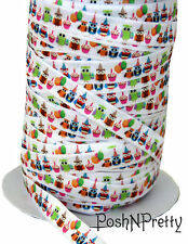 Designer 3 Yards 5/8 Print Fold Over Elastic Stretch FOE - Birthday Owls Balloon