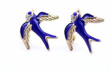 Vintage style gold blue enamel swallow bird charm earrings
