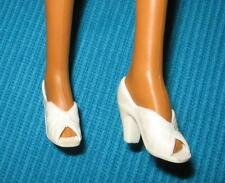 VINTAGE MEGO FOR CHER FARRAH DIANA WONDER WOMAN WHITE OPEN TOE HEELS SHOES NICE!