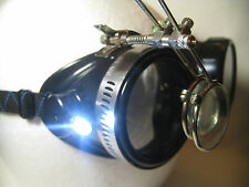 Pro Steampunk Safety Goggles Black Industrial 5X2 Loupe Magnifying LED Glasses