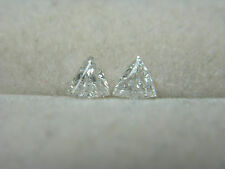 Pair Trillion White Diamonds natural E-F SI accent side stones 0.20cttw