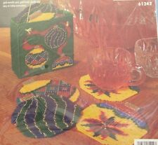 Bucilla Plastic Canvas Christmas Ornaments Coasters Set Of 6 W/Holder 1997 New