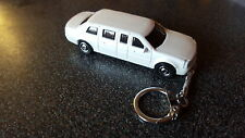 Diecast Cadillac Limousine White Toy Car Keyring Keychain