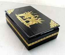 "NiCe! Handmade Gold Leaf Lacquerware Box Royal War Elephant Design 6""X4"""