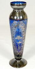 Vecchia-VASO VETRO VASO-di cattura vetro silveroverlay Cobalto Blu-VENEZIA-Boemia