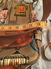 Fossil Messenger Bag Khaki With Birds In Birdcage Blue