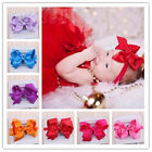 10Pcs Big Hair Bows Boutique Girls Baby Toddler Alligator Clip Grosgrain Ribbon