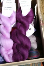 Merino Wool Top Roving Eggplant 1 oz
