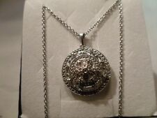 Round Diamond Pendant 0.05 Carats in Platinum Overlay w/Chain 20 inches