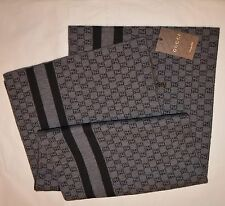 NEW GUCCI MEN'S WOOL GG GUCCISIMA WEB STRIPE SCARF MUFFLER MADE IN ITALY