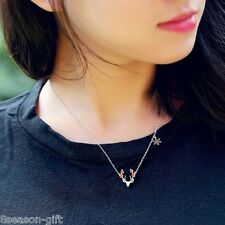 GIFT 1PC New Fashion Christmas Gift Deer Lerrering Collarbone Chain Necklace