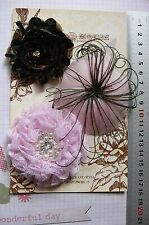 PINK & BLACK Feather Facinator & Fabric Flowers 3 Flower Pk 60-80mm Manor House