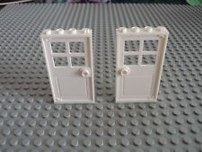 Lego Minifig ~ Lot Of 2 White Door w/White Frame 1x4 / House City Town #nmj