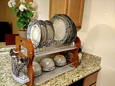 2-Tier Stainless Steel + Wood Dish Bowl Cup Mug Rack Kitchen Drainer Dryer Tray