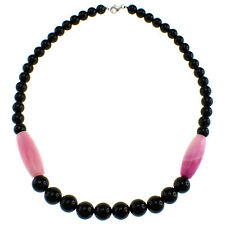 """Black Agate Dyed Pink Agate 17"""" Long with Sterling Silver Clasp Beaded Necklace"""
