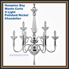 Hampton Bay Monte Carlo 9 Light Polished Nickel Chandelier  New