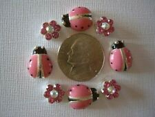 2 Hole Slider Beads Ladybugs & Daisy Pink Crystal Made with Swarovski Elements#8