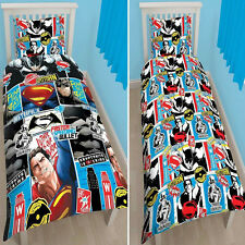 SINGLE BED DUVET COVER SET BATMAN VS SUPERMAN DAWN OF JUSTICE REVERSIBLE